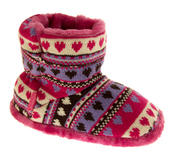 Girls Knitted Herringbone and Heart Slipper Boots Thumbnail 7