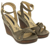 Ladies Elisabeth Distressed Cork Effect Faux Leather Wedge Sandals Thumbnail 8