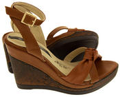 Ladies Elisabeth Distressed Cork Effect Faux Leather Wedge Sandals Thumbnail 10