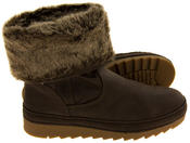 Womens JANA Leather Effect Faux Fur Lined Ankle Boots Thumbnail 9