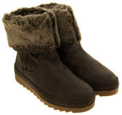 Womens JANA Leather Effect Faux Fur Lined Ankle Boots Thumbnail 10