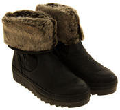 Womens JANA Leather Effect Faux Fur Lined Ankle Boots Thumbnail 5