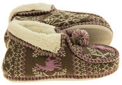 Ladies Coolers Winter Fur Lined Fairisle Slipper Boots Thumbnail 4