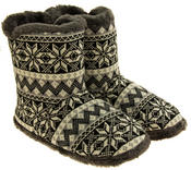 Mens Coolers Fairisle Faux Fur Lined Snowflake Boot Slippers Thumbnail 4