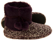 Ladies 'Coolers'  Warm Fur Lined Knitted Slipper Boots Thumbnail 9