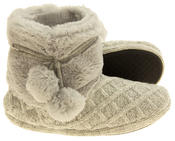 Ladies 'Coolers'  Warm Fur Lined Knitted Slipper Boots Thumbnail 4