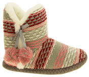 Ladies 'Coolers' Knitted Faux Fur LIned Boot Slippers Thumbnail 8