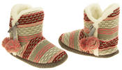 Ladies 'Coolers' Knitted Faux Fur LIned Boot Slippers Thumbnail 11