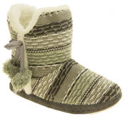 Ladies 'Coolers' Knitted Faux Fur LIned Boot Slippers Thumbnail 2
