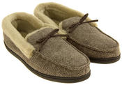 Mens COOLERS Grey Brown Faux Fur Lined  Moccasin Slippers Thumbnail 5