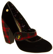 Ladies BABYCHAM Faux Suede Black and Red Tartan Mary Jane Block Heels Thumbnail 2