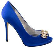 Ladies Sabatine Satin Diamante Cluster Bridal Wedding Shoes Thumbnail 4