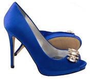 Ladies Sabatine Satin Diamante Cluster Bridal Wedding Shoes Thumbnail 5