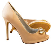 Ladies Sabatine Satin Diamante Cluster Bridal Wedding Shoes Thumbnail 7