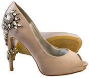 """Ladies Sabatine Satin Diamante High Heels 4.5"""" Wedding Shoes Thumbnail 7"""