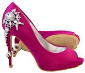 """Ladies Sabatine Satin Diamante High Heels 4.5"""" Wedding Shoes Thumbnail 9"""