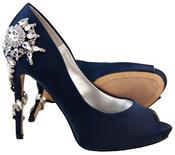 """Ladies Sabatine Satin Diamante High Heels 4.5"""" Wedding Shoes Thumbnail 12"""