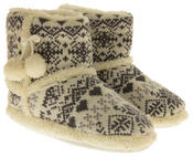 Ladies De Fonseca Fairlisle Knitted Slipper Boots Thumbnail 5