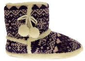 Ladies De Fonseca Fairlisle Knitted Slipper Boots Thumbnail 10