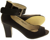 Womens Elisabeth Peep Toe Ankle Wrap Court Shoe Thumbnail 3