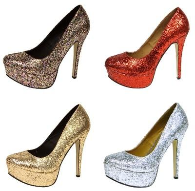 WOMENS LADIES HIGH HEELS RED GOLD SILVER PURPLE *GLITTER* SHOES ...