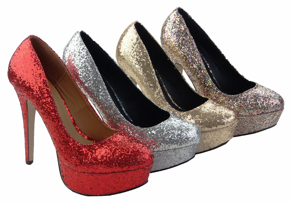 WOMENS LADIES HIGH HEELS RED GOLD SILVER PURPLE *GLITTER* SHOES