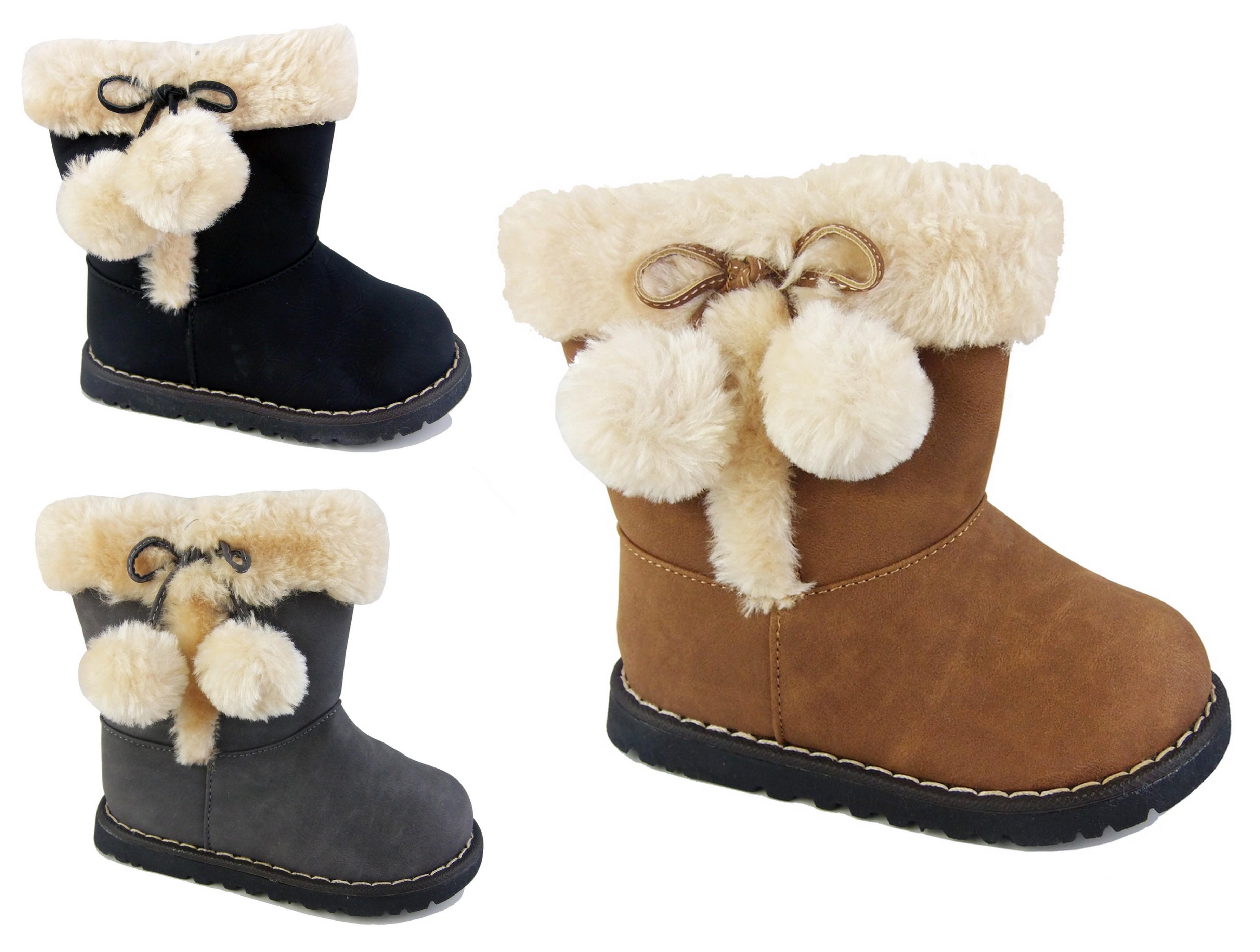 New Infant Girls Fur Lined Warm Winter Pom Pom Boots UK