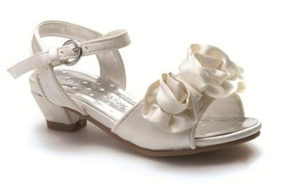 toddler infant girls ivory satin party sandals wedding