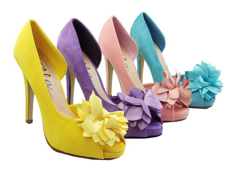 New Ladies ELLA Pink Blue Purple Yellow Wedding Bridesmaid Heels ...