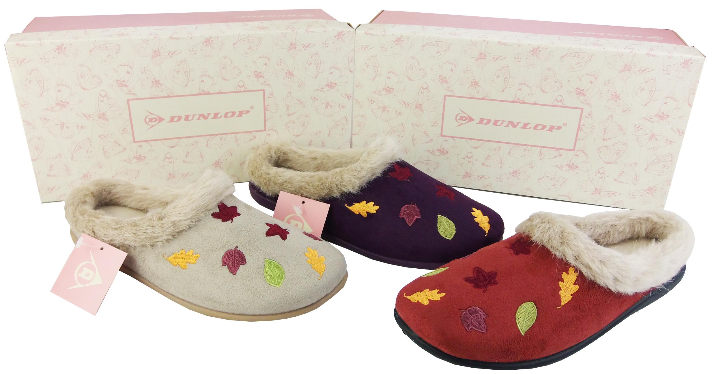 New Ladies DUNLOP Colourful Autumn Leaves Fur Lined Warm Slipper Mules Sz 3 - 8