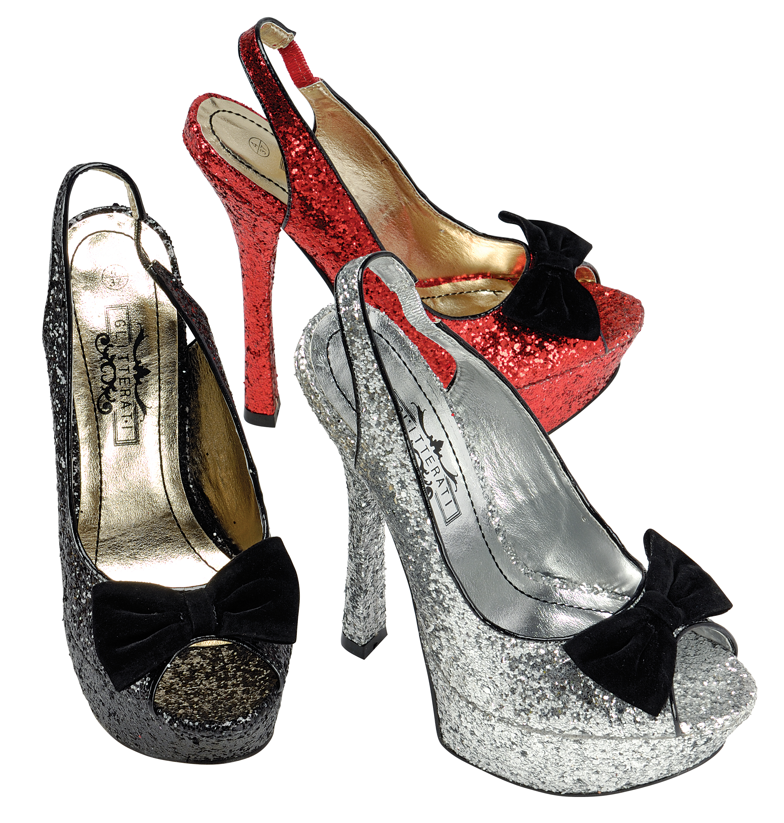 New Stunning Ladies Red Black Glitter High Heels Party