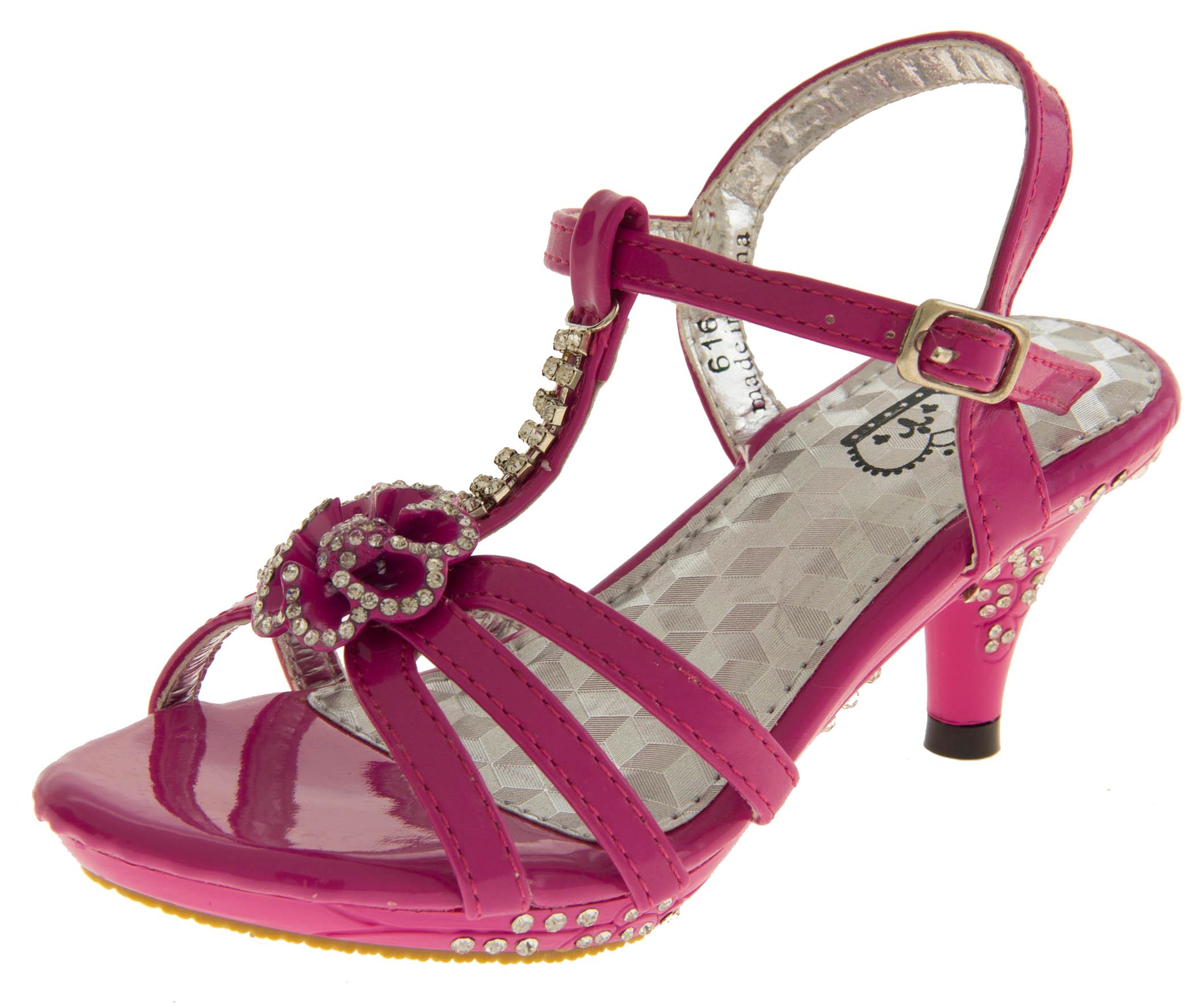 Girls Kids Pink Party Low Heel Wedding Heels Shoes Size 8 9 10 11 ...