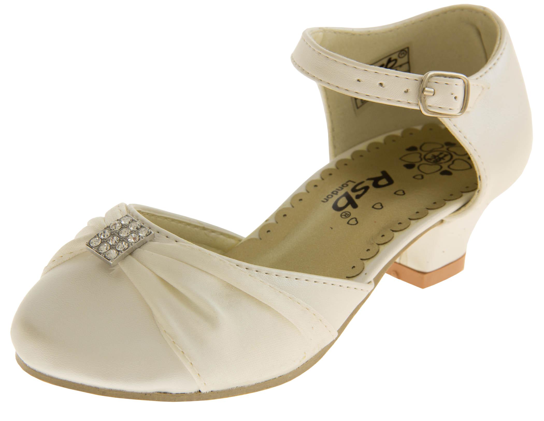 Kids Satin Kitten Heels Diamante Ivory Party Heel Size S 9-3 New ...