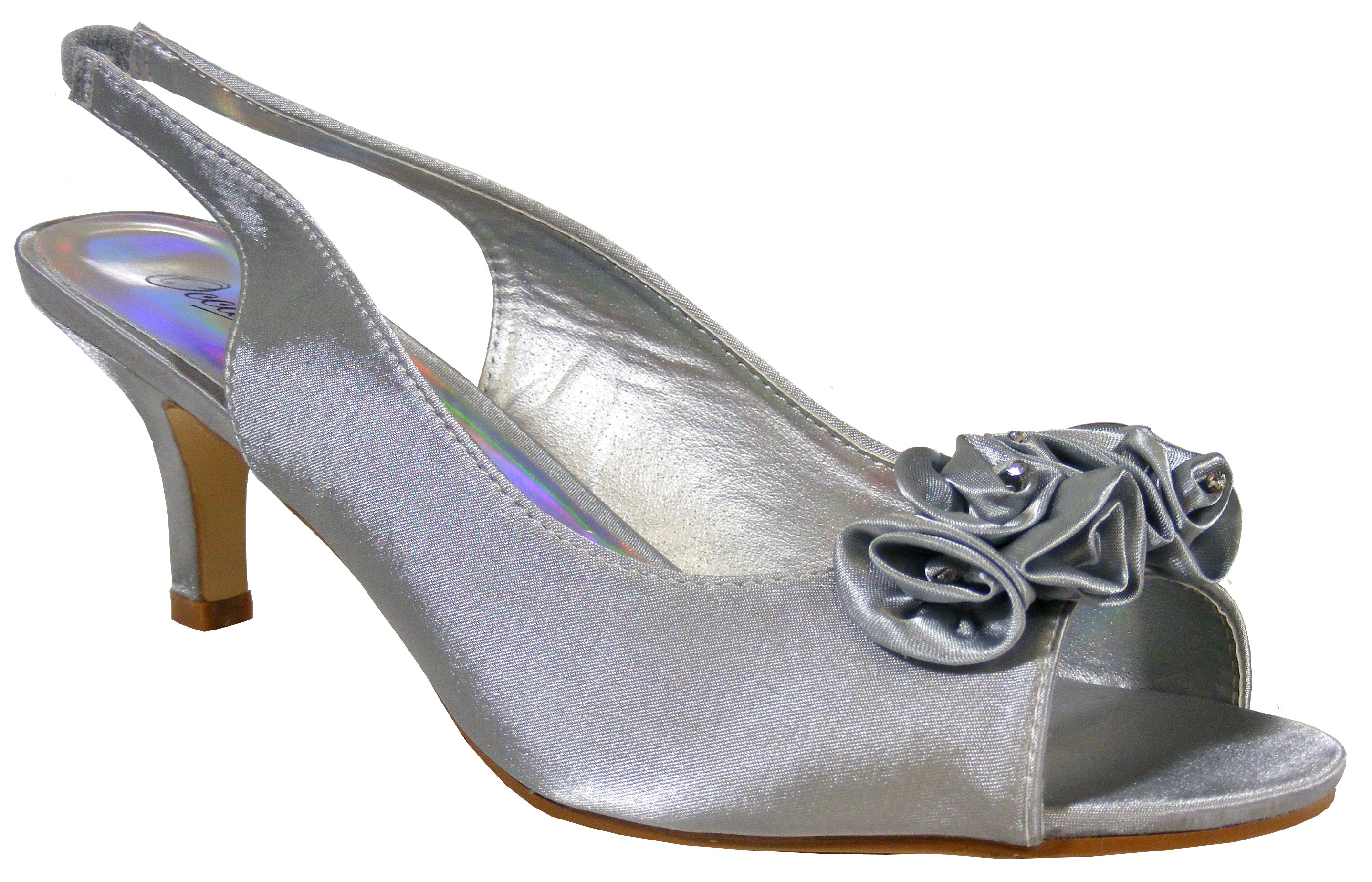 Ladies Silver Soft Satin Diamante Slingbacks Low Heels Bridesmaids Wedding Shoes