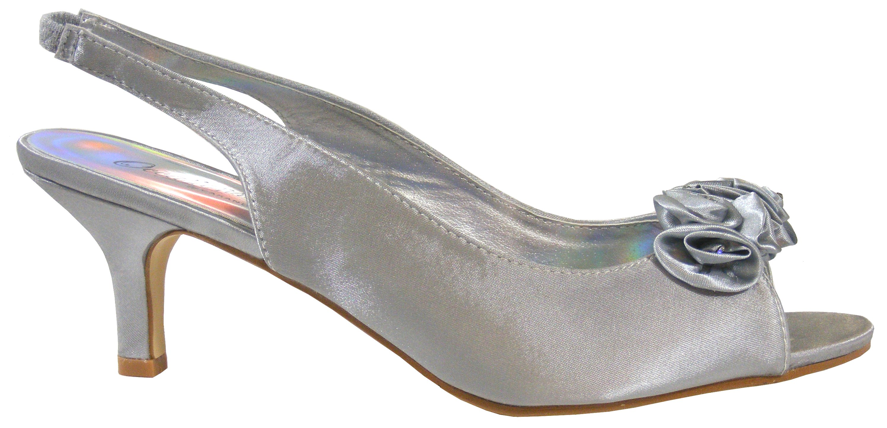 Silver Grey Low Heel Shoes - Red Heels Vip