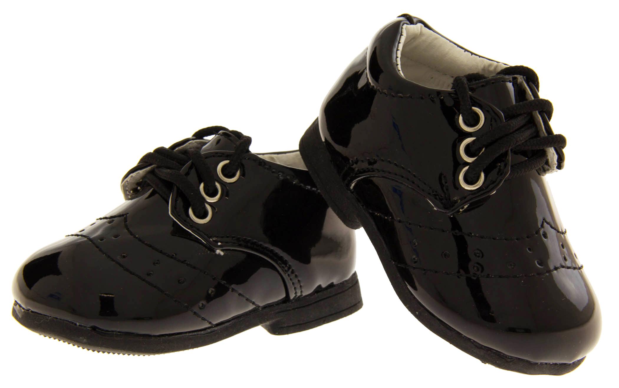 Tiny Baby Newborn Boys S Black Laces Christening Wedding Shoes Sz Size 0 1