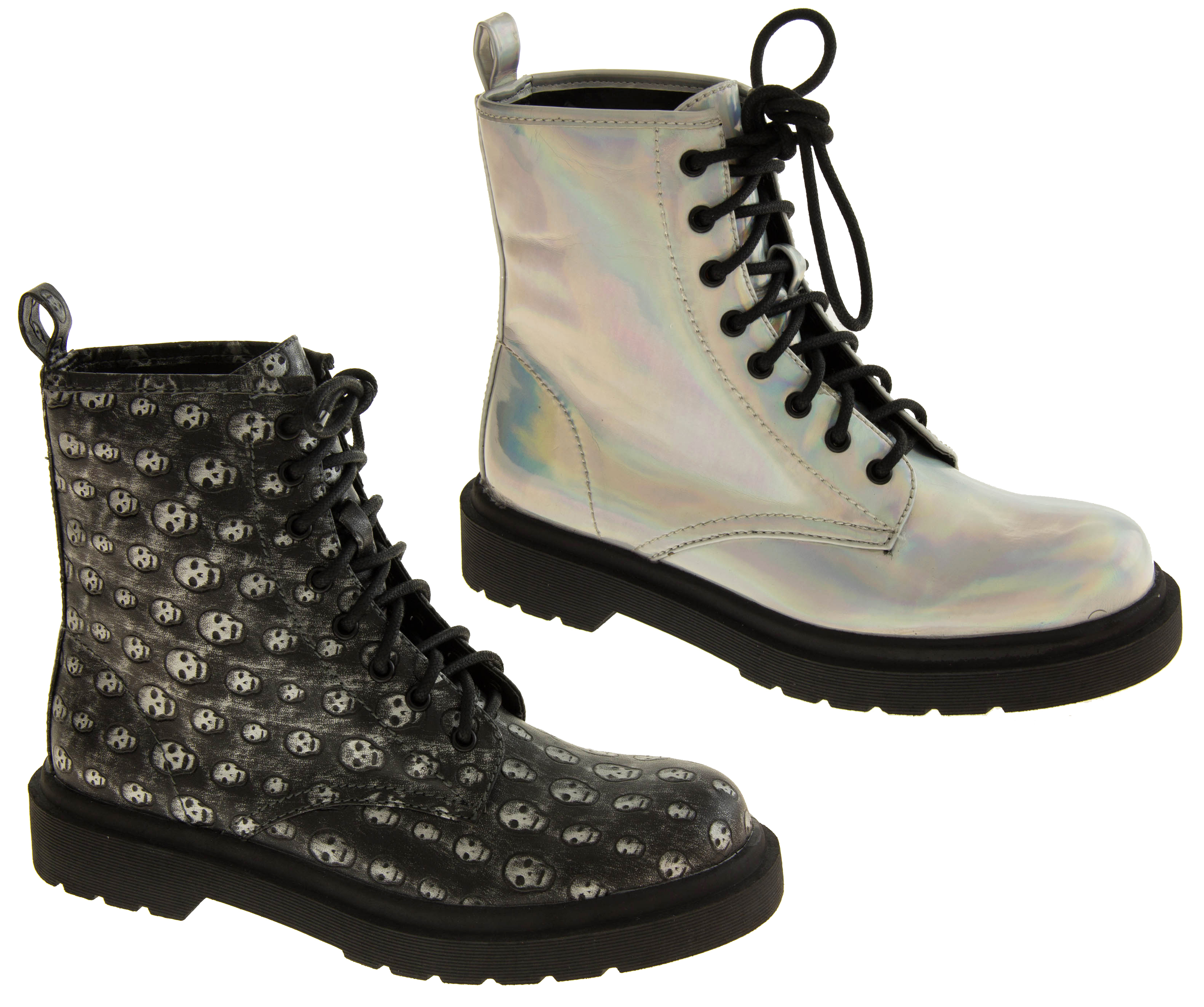 Ladies Punk Goth Boots Womens Girls Lace Up Combat Military Boot ...