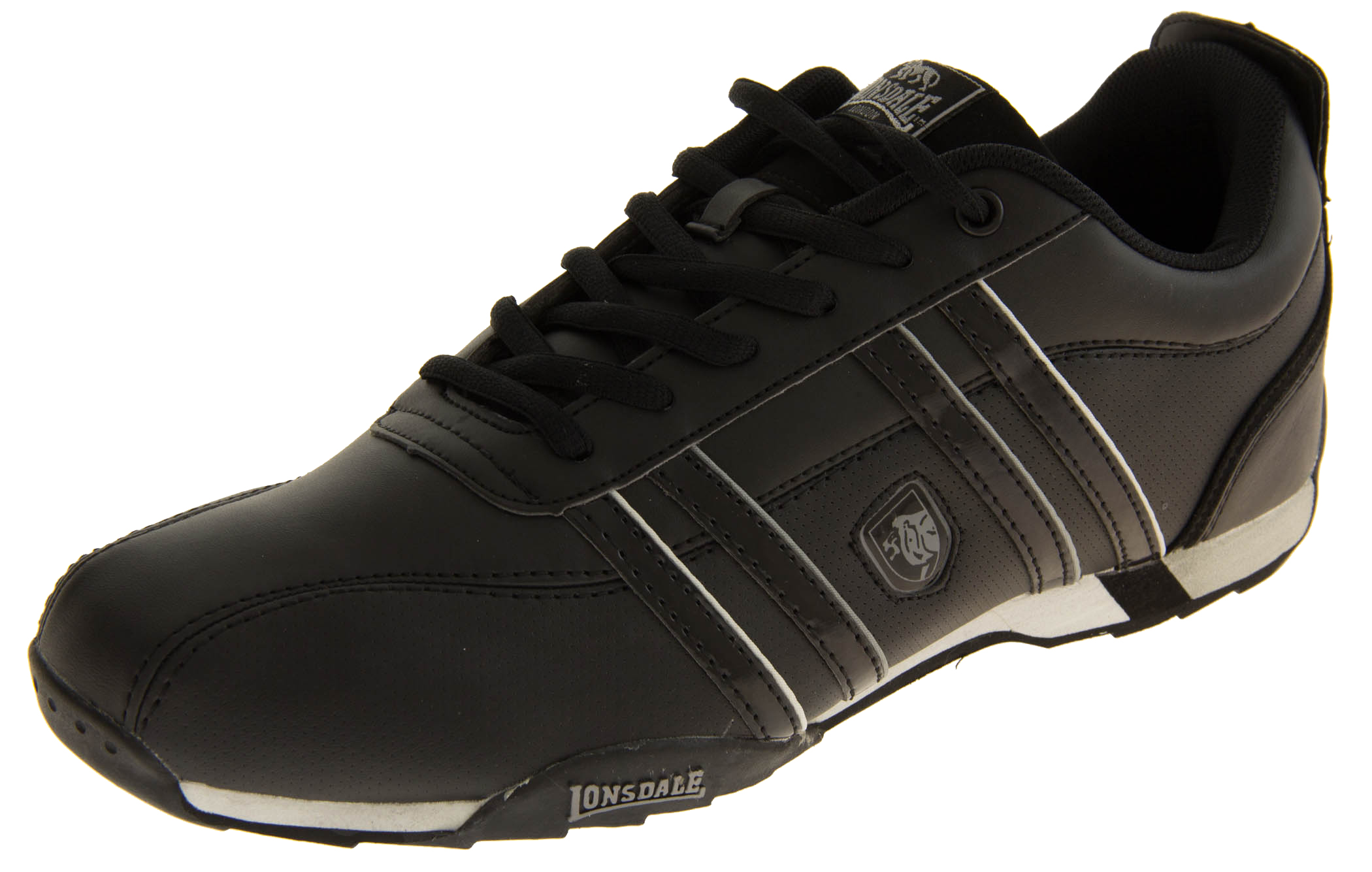 Mens LONSDALE Leather Trainers Lace Up Casual Sports Shoes Size 7 8 9 10 11 12