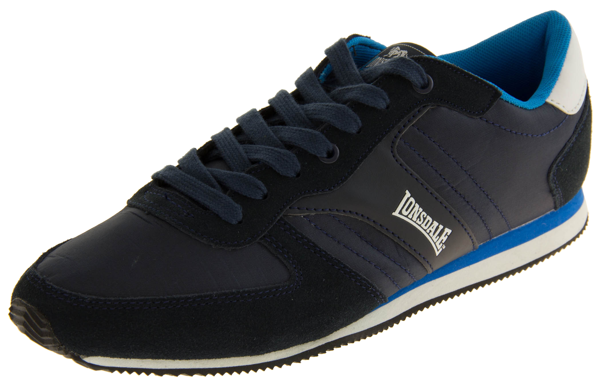 Mens Navy Blue LONSDALE Leather Trainers Lace Up Casual Sports Shoes Size 10 11