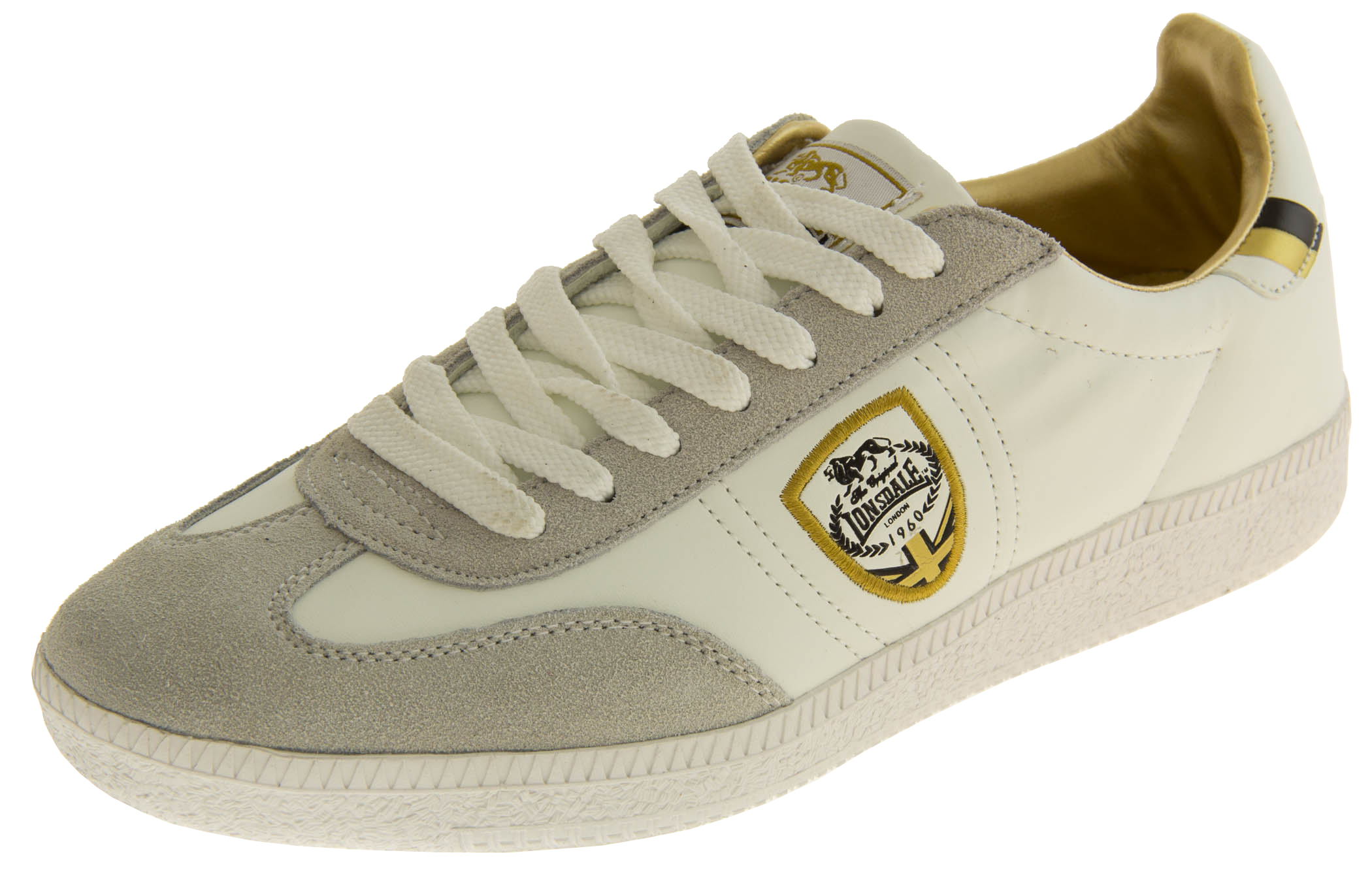 Mens White Leather LONSDALE Trainers Gold Lace Up Casual Sports Shoes Sz Size 7