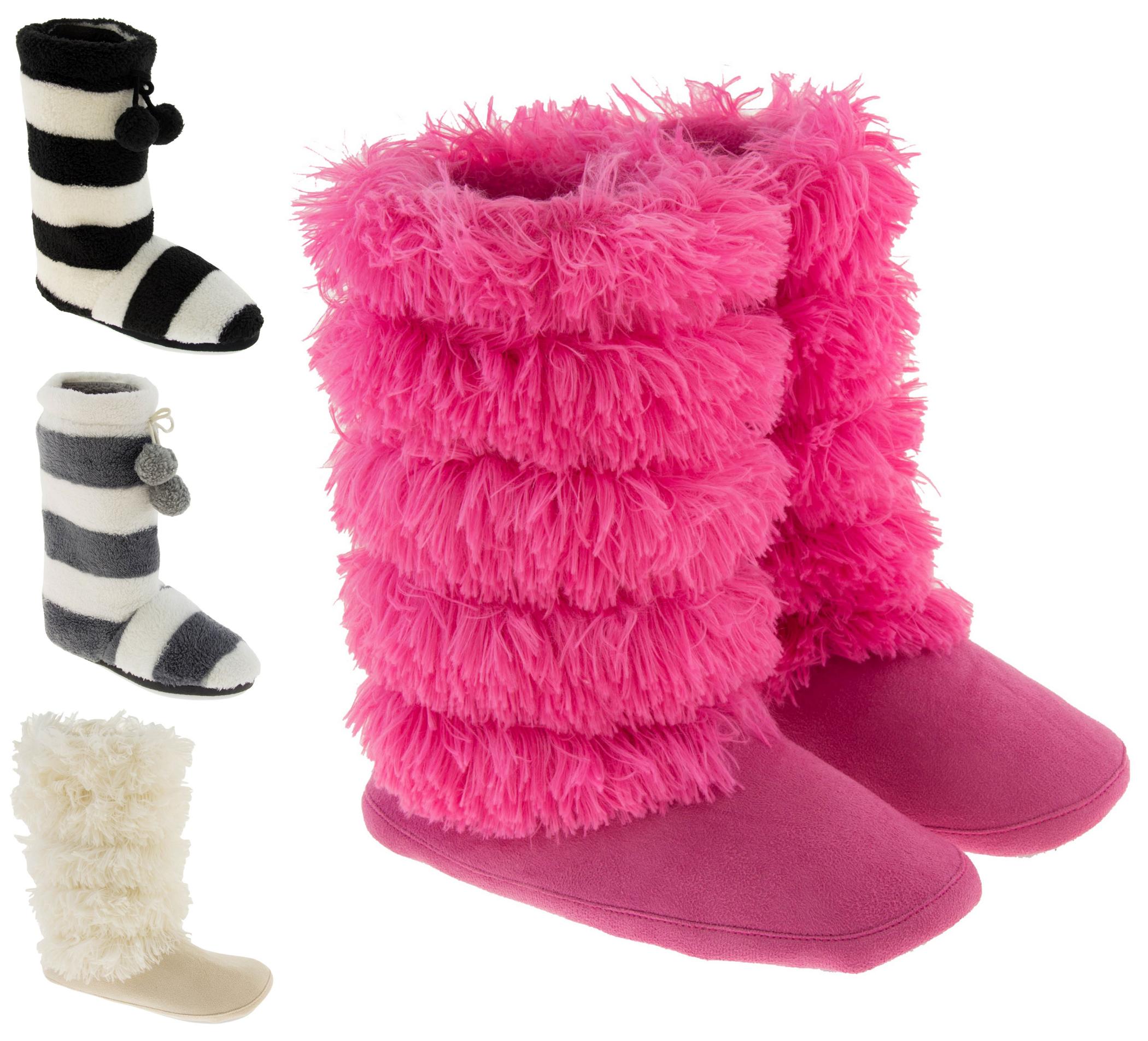 damen hausschuhe stiefel flauschig weich warm winter gr e. Black Bedroom Furniture Sets. Home Design Ideas