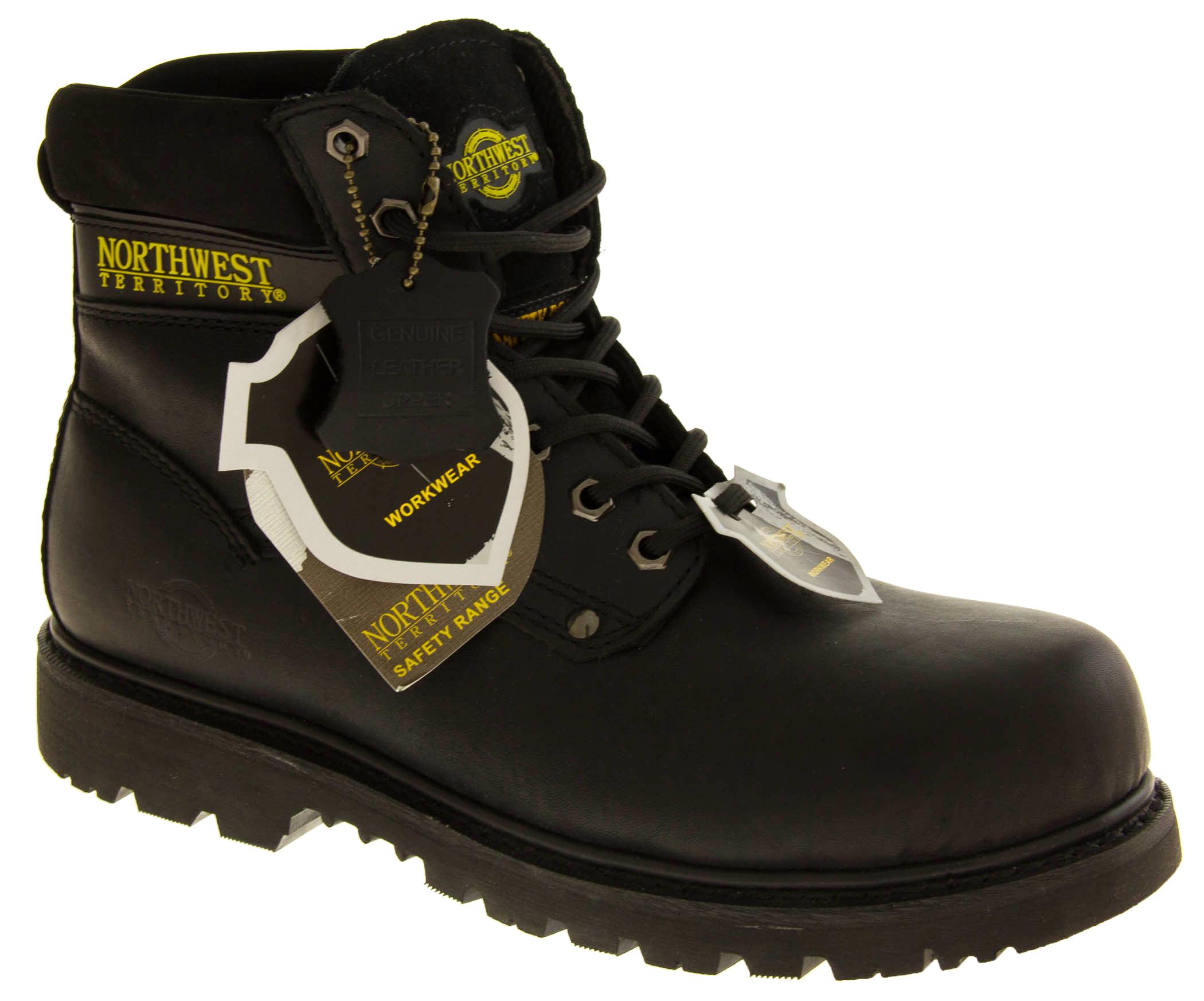 mens leather safety toe cap acid slip resistant work