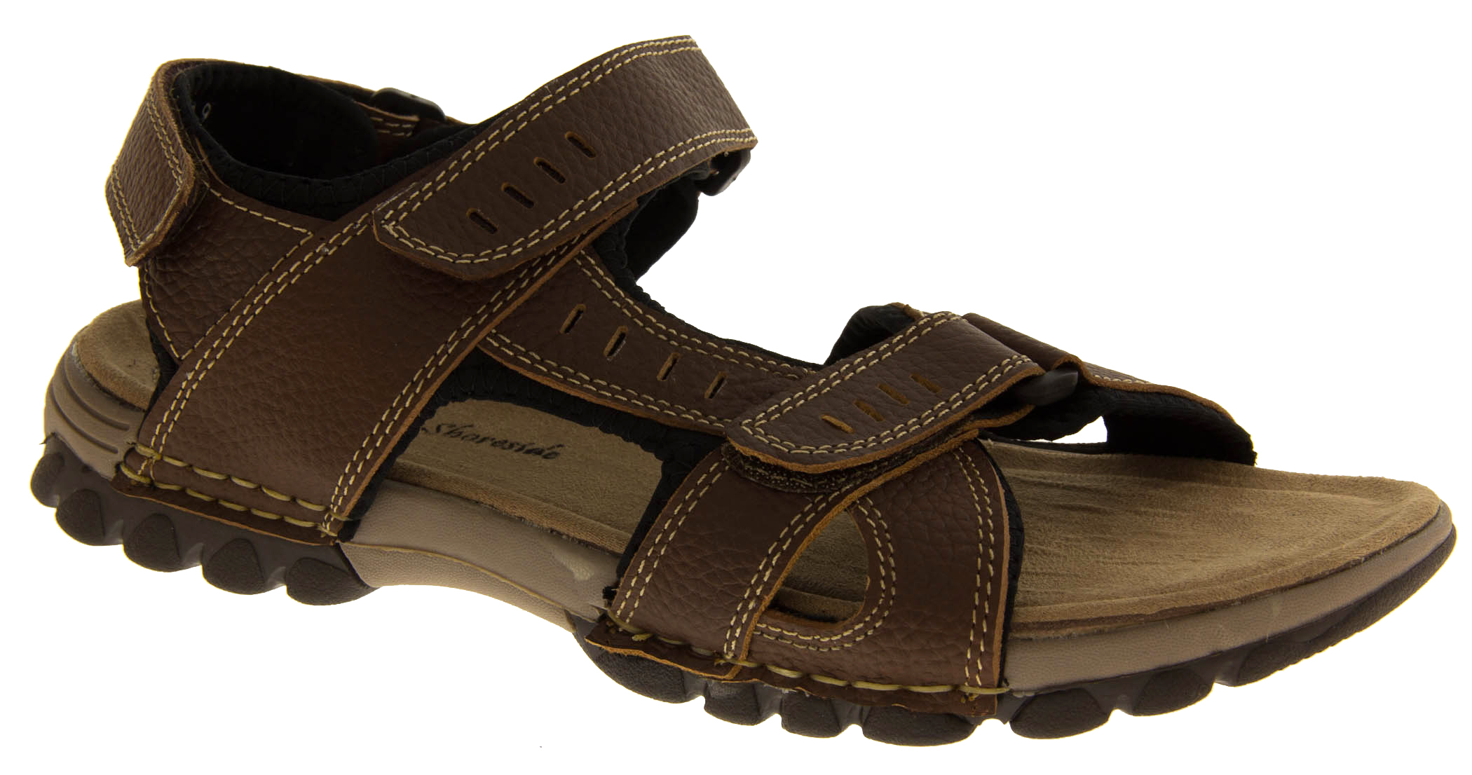 Mens LEATHER SHORESIDE Rugged Tough Open Trekking Camping Walking Sandals Size 8