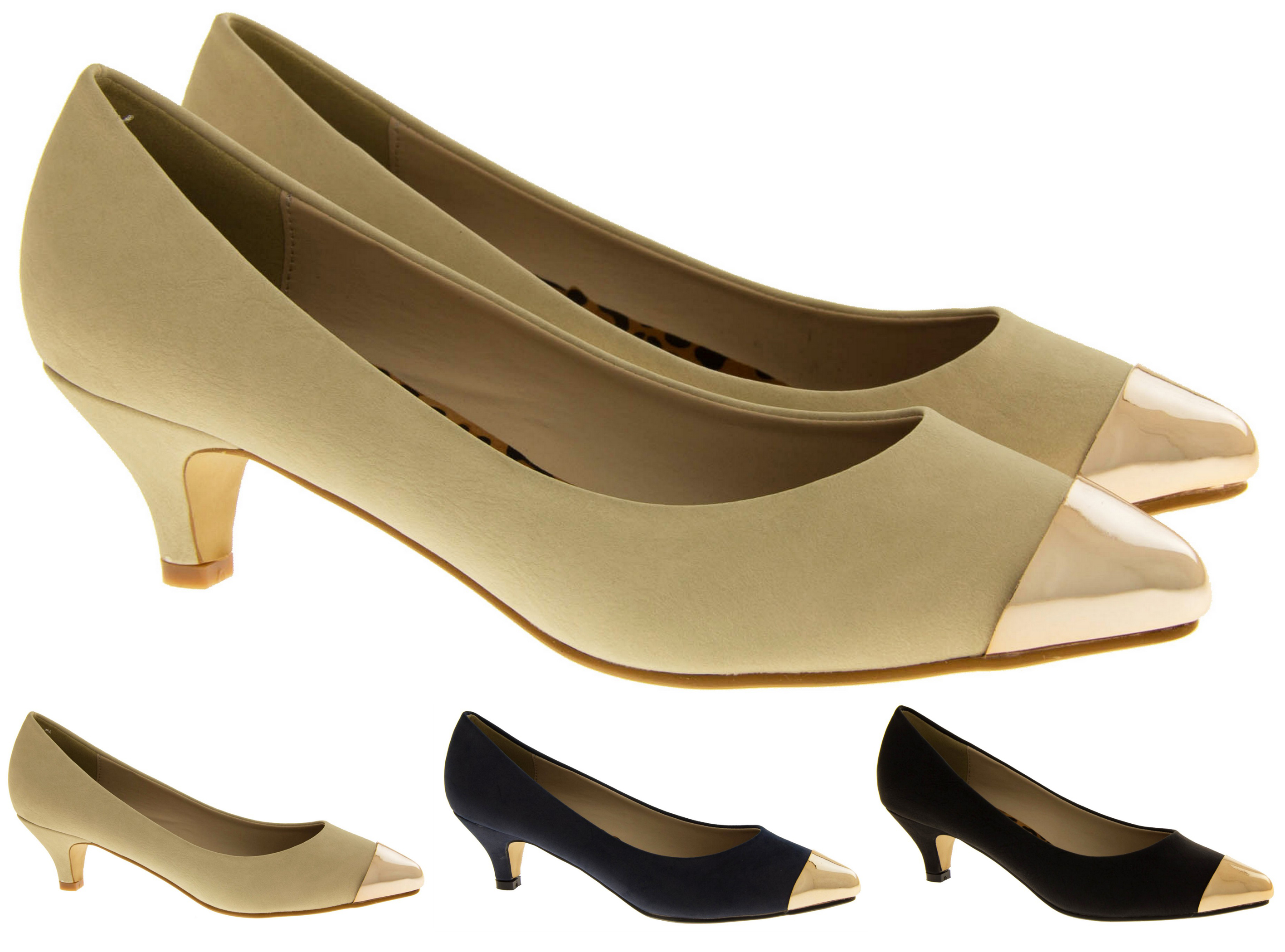 Ladies Stylish Fashion Low Mid Heels Womens Work Court Shoes <span style='visibility:hidden;'> Size 3 4 5 6 7 8
