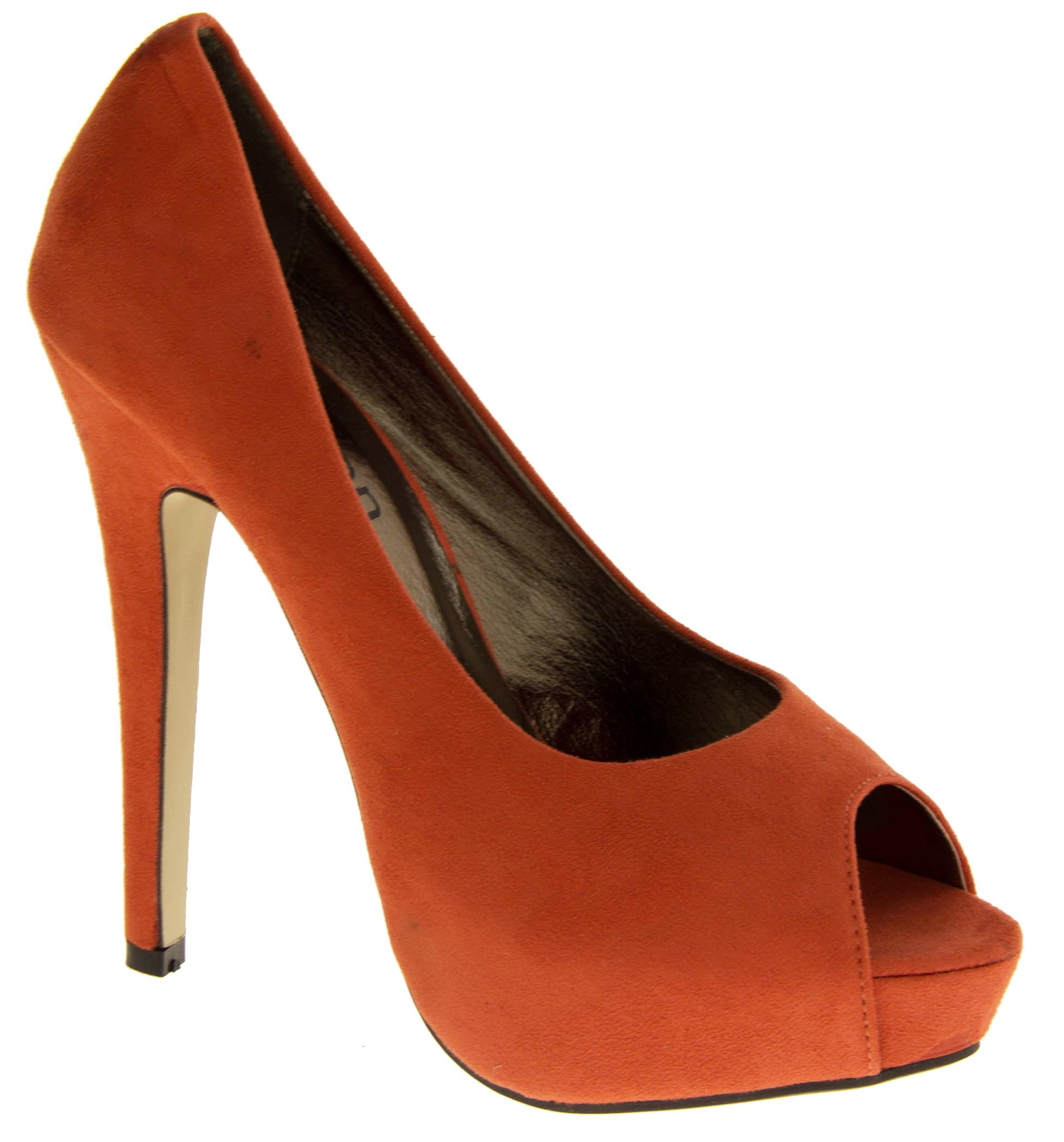Ladies Prom High Heels Orange Faux Suede Platform Peep Toe Court Shoes Size 3 5