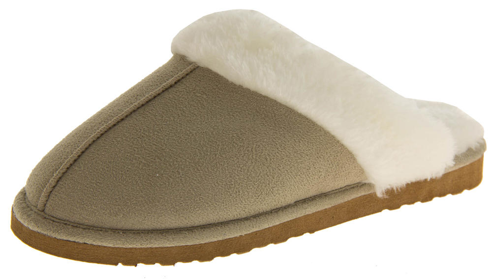 Womens DUNLOP Faux Fur Lined Slipper Mules