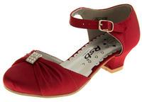 Girls Satin Diamante Wedding Party Shoes Thumbnail 5