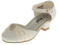 Girls Satin Diamante Wedding Party Shoes Thumbnail 11