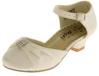 Girls Satin Diamante Wedding Party Shoes Thumbnail 9