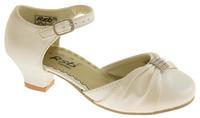 Girls Satin Diamante Wedding Party Shoes Thumbnail 10